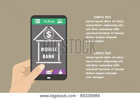 Hand Holding Smartphone With Mobile Banking Icon On The Screen
