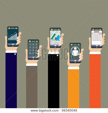 Mobile Applications Concept. Hands With Phones, Flat