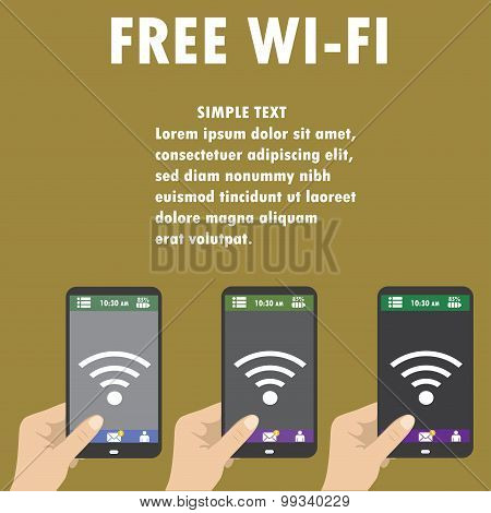 Hand Holding Smartphone With Free Wifi Wireless Connection Busin