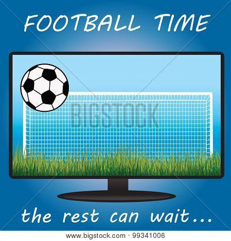 Time Football On Tv, Ball, Gate, Lawn. Flat Design