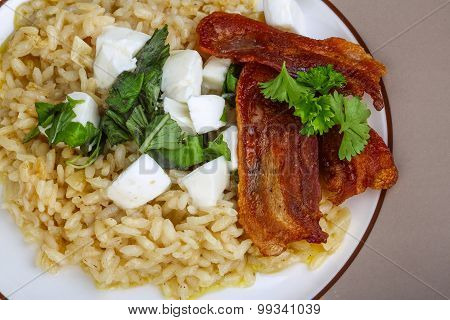 Risotto With Mozzarella And Bacon