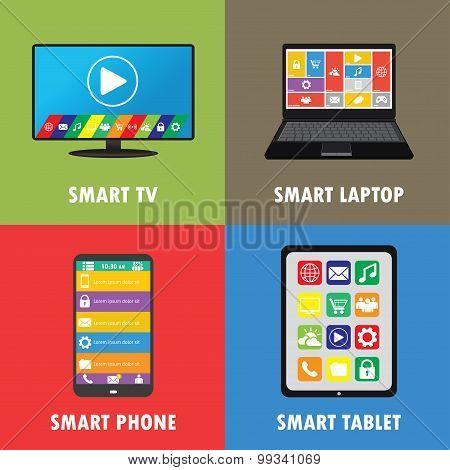 Smart Device- Smartphone, Laptop, Tablet, Tv, Flat Design