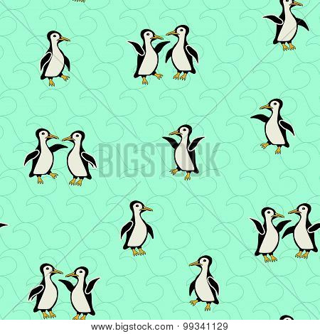 Funny penguins on a turquoise background with waves