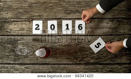 Businessman Celebrating A Successful Year 2015 Anticipating Coming Year 2016 And New Achievements