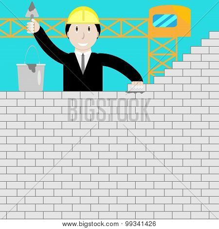 Businessman Building A Brick Wall