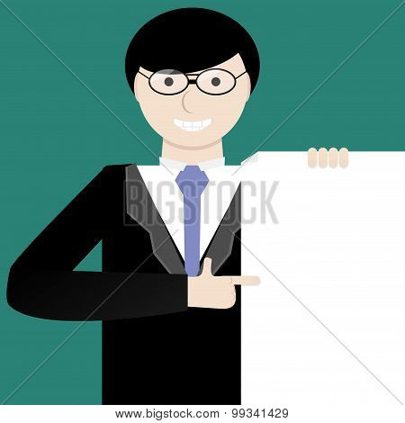 Young Businessman Showing A Project Idea Or Contract