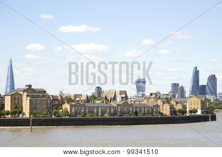 London's City Skyline, As Viewed From Canary Wharf