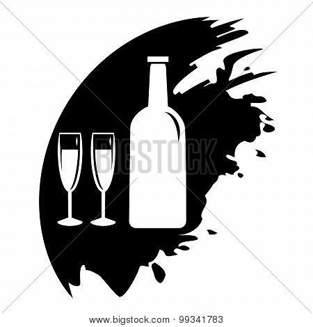 Wine Glass And Bottle. Vector Black Blot.