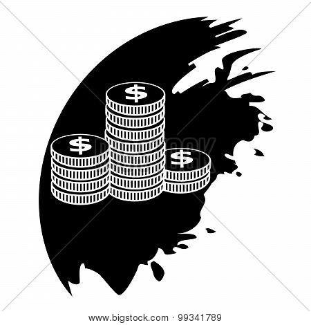 Icon Coins. Black Blot.