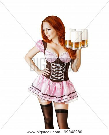 Sexy Oktoberfest Beautiful Woman With Three Beer Mugs