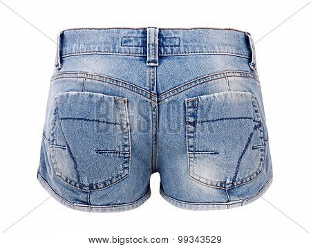 Pair Of Blue Denim Shorts With Worn Patches