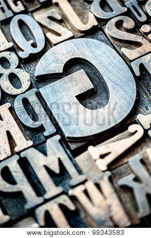 Set Of Wooden Typographical Letters And Numbers