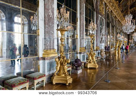 Visitors Admiring The Hall Of Mirrors Palace Versailles Near Paris, France