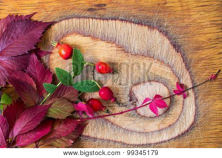 Bright Autumn Leaves And Berries Of Wild Rose On The Old Board