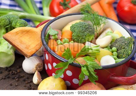 Fresh vegetables in the pot