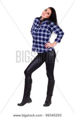 Full length portrait of a casual happy woman
