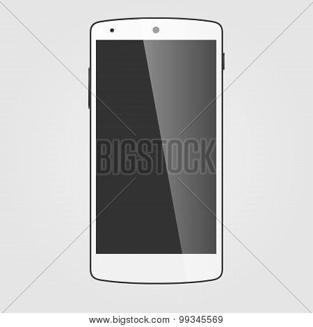 Modern Touchscreen Cellphone. Tablet Smartphone Isolated On White Background. Vector Template.