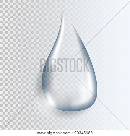 Realistic Pure Transparent Water Drop With Shadow On Gray Background. Vector Illustration