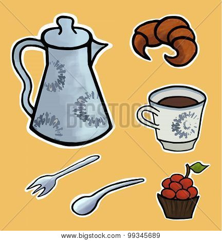 English Tea Ceremony Vector Illustration