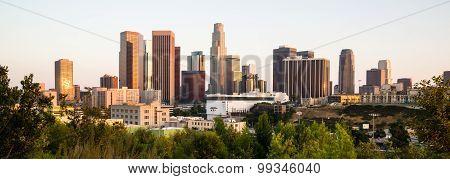 Sunrise Los Angeles California Downtown City Skyline