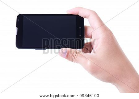Male Hand Holding Mobile Smart Phone With Blank Screen Isolated On White