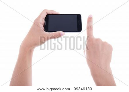 Hands Using Mobile Smart Phone With Blank Screen Isolated On White