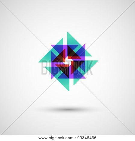 abstract colored triangles on a white background