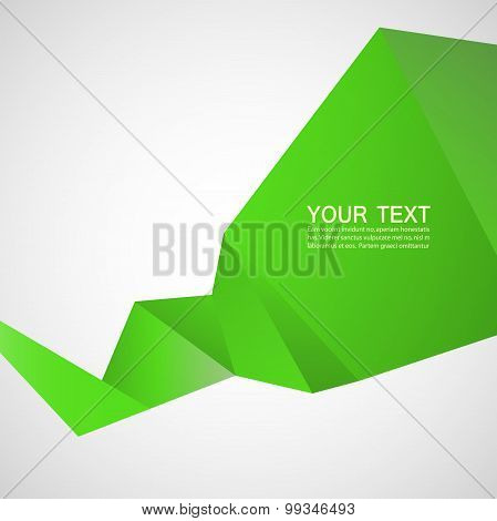 Vector abstract background with green line ribbon