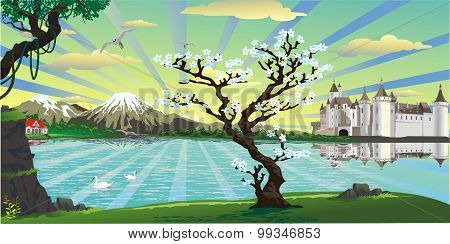 Landscape-the Castle And The Cherry Tree Over The Lake [