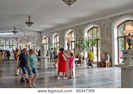 Tourists In Narzan Gallery Of Kislovodsk