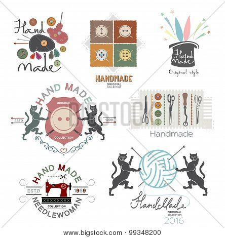 Set of vector vintage hand made logo, labels and design elements.