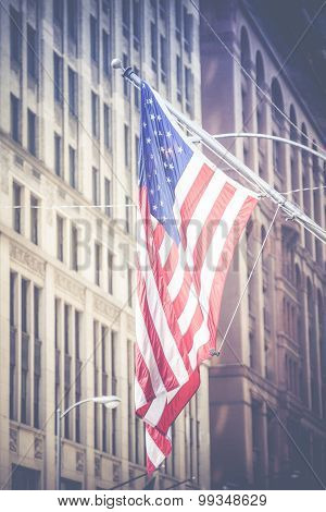 American Flag Waving In The Breeze In The Chicago Downtown Loop Business District.