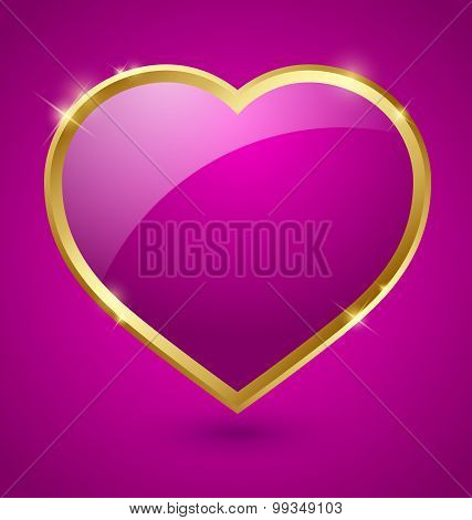 Purple And Golden Heart