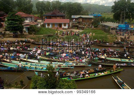 Traffic Jam In Phaung Daw Oo Pagoda Festival,Myanmar.