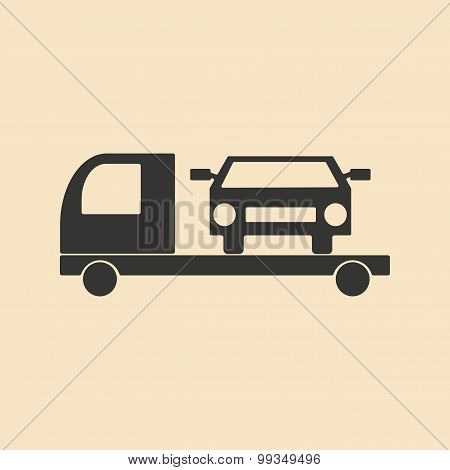 Flat in black and white mobile application tow car
