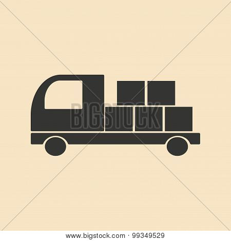 Flat in black and white mobile application Freight