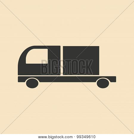 Flat in black and white mobile application trucking