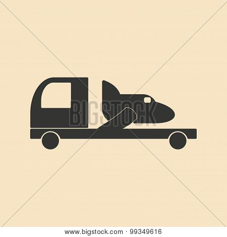 Flat in black and white mobile application trucking industry