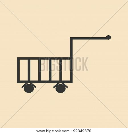Flat in black and white mobile application trolley