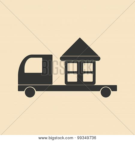 Flat in black and white mobile application home delivery
