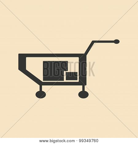 Flat in black and white mobile application truck full