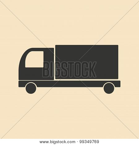 Flat in black and white mobile application van truck