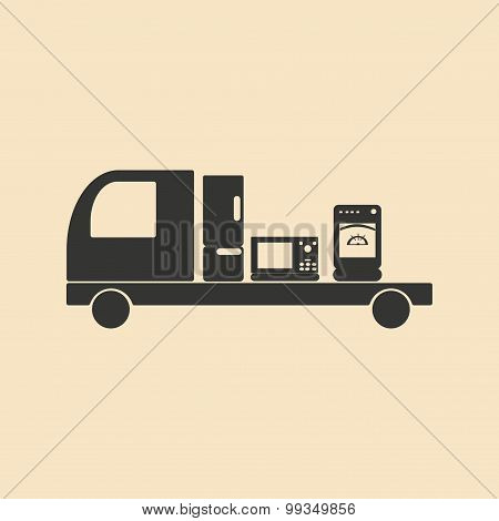 Flat in black and white mobile application delivery of household appliances