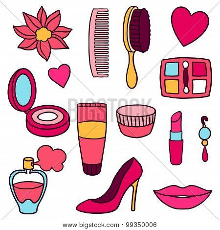 Beauty and fashion set of cosmetic accessories