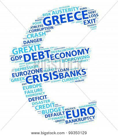 Euro word cloud concept of the Greek financial and economic crisis