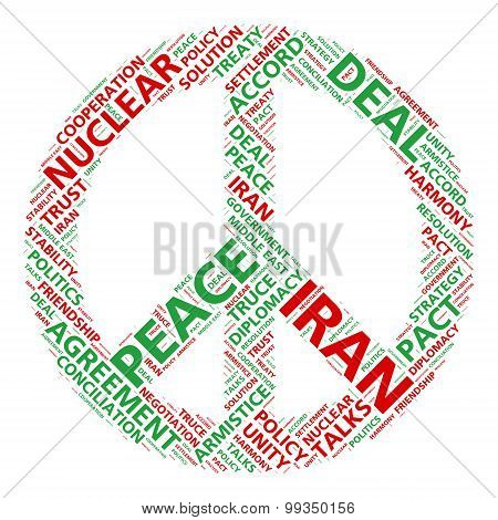 Peace symbol word cloud for Iran nuclear deal