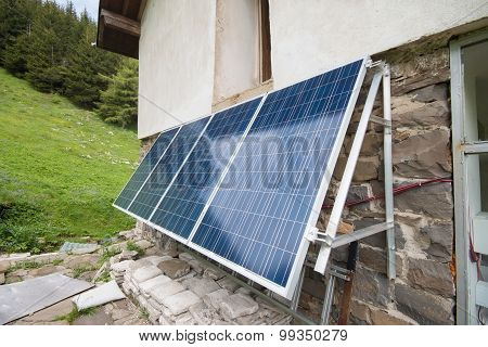 Solar Panels On Apline Hut