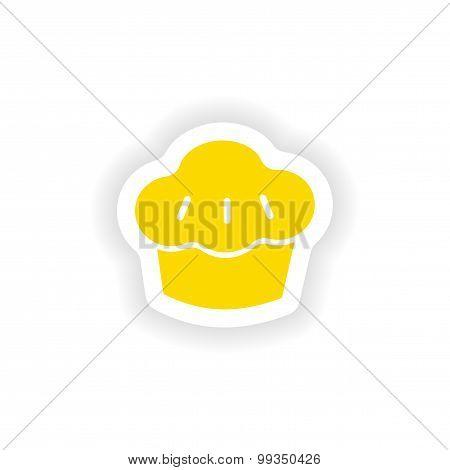 icon sticker realistic design on paper cake