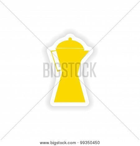 icon sticker realistic design on paper coffee maker