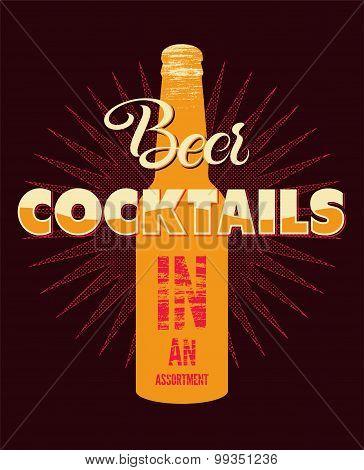 Typographic retro grunge beer cocktails poster. Vector illustration.